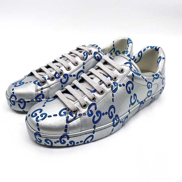 Ace Gg Coated Leather Sneakers Silver